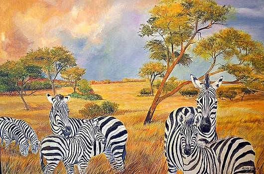 Zebras On the Savanna  by Alvin Hepler