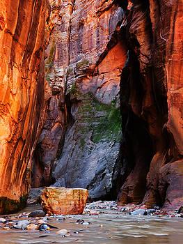 Zion Narrows with Boulder by Alan Socolik