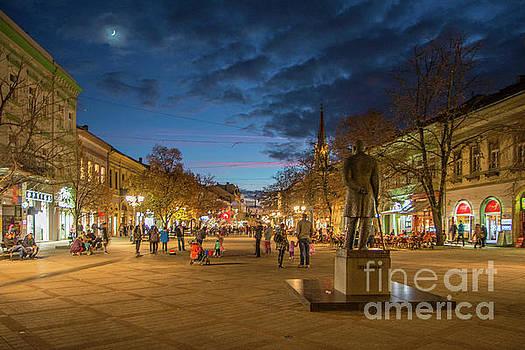 Zmaj Jovina street in moonlight by Jivko Nakev