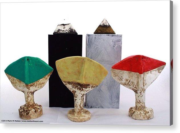 Figurative Acrylic Print featuring the sculpture Fabulas Humanum Collectors Set by Mark M Mellon
