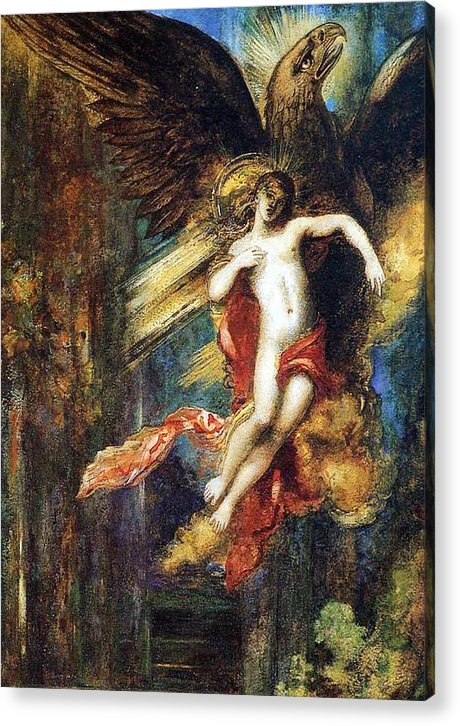 Jupiter; Bird; Taken; Abduction; Mythology; Mythological; Male; Youth; Youthful; Young; Wings; Winged; Kidnapping; Kidnap; Transformation; Metamorphosis; Greek Myth; Abduct; Flight; Flying; Nude; God; Deity; Landscape; Dog; Carrying Acrylic Print featuring the painting Ganymede by Gustave Moreau