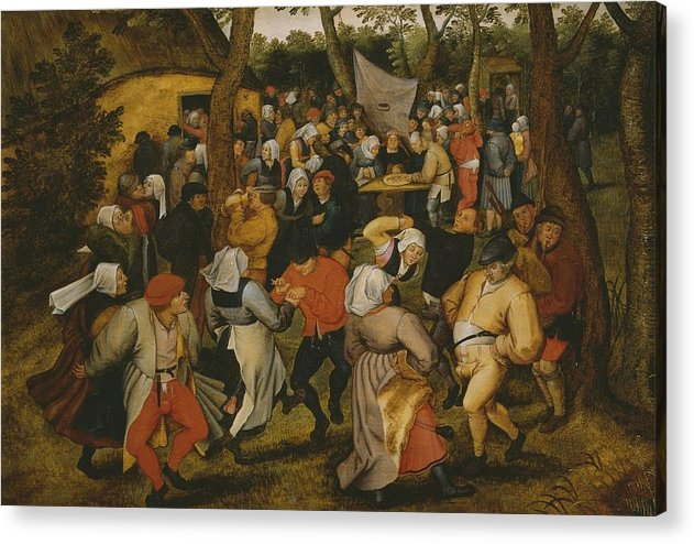 Male; Female; Couple; Couples; Peasant; Peasants; Farmer; Farmers; Farm; Bride; Table; Money; Dancer; Dancers; Celebration; Celebrating; Bagpipes; Folk; Rural; Countryside; Openair; Open Air Acrylic Print featuring the painting Open Air Wedding Dance by Pieter the Younger Brueghel
