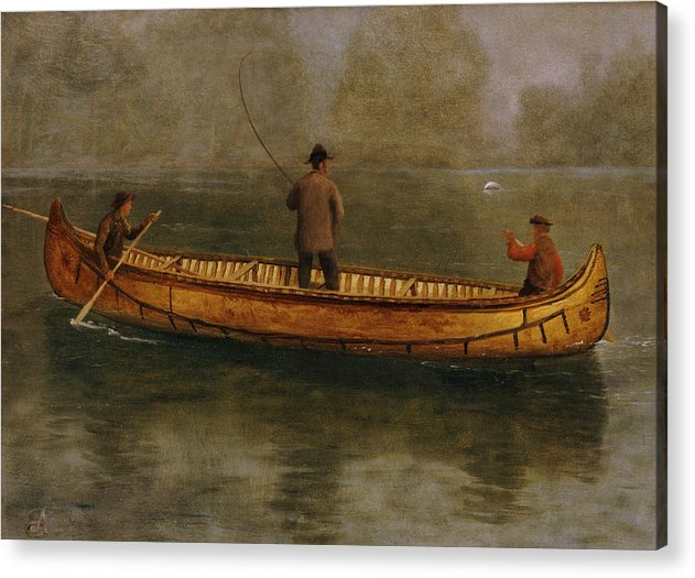 Fishing From A Canoe (oil On Canvas) American; Landscape; Lake; Kayak; Male; Leisure; Pastime; Paddle; Water Acrylic Print featuring the painting Fishing From A Canoe by Albert Bierstadt