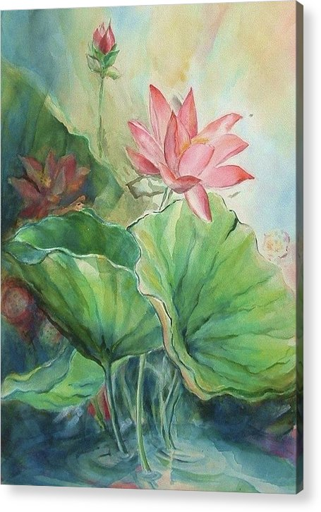 Lotus Acrylic Print featuring the painting Lotus Of Hamakua by Wendy Wiese