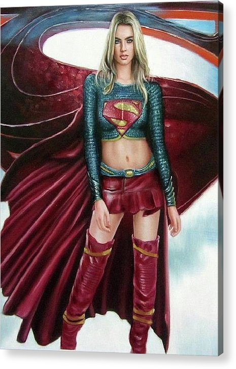 Superman Acrylic Print featuring the painting Supergirl by Brendon Larimore