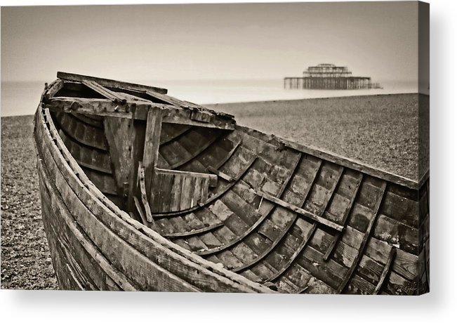 Britain Acrylic Print featuring the photograph Beached At Brighton In Sepia by Tony Grider