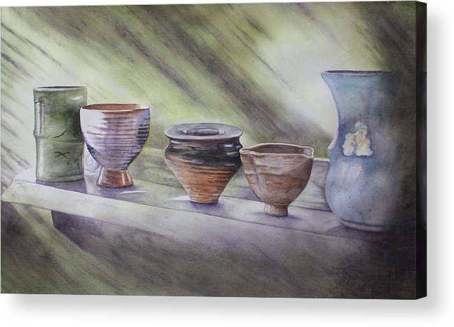 Hand Thrown Pottery Acrylic Print featuring the painting Hand Thrown by Patsy Sharpe
