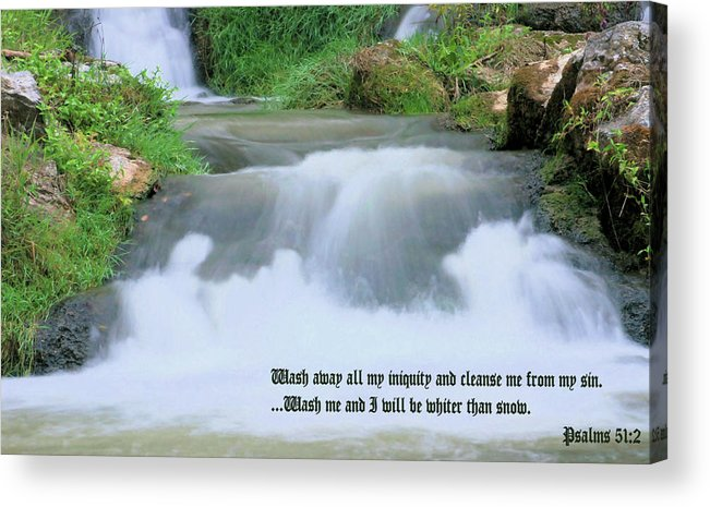 Waterfall Acrylic Print featuring the photograph Psalm 51 2 by Kristin Elmquist