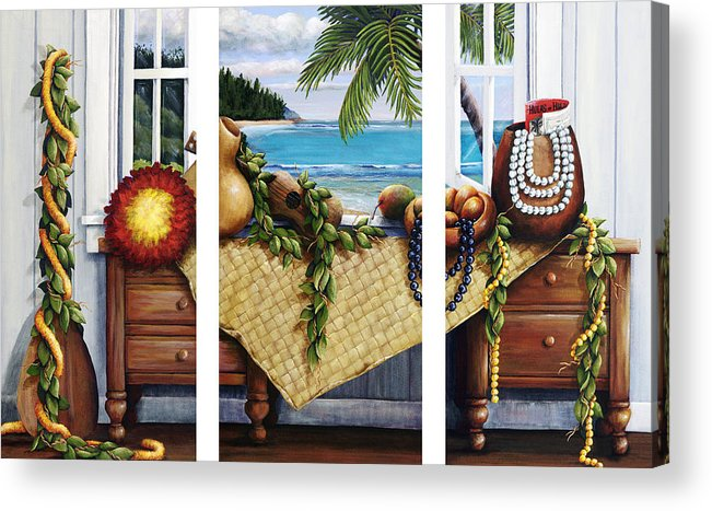 Acrylic Acrylic Print featuring the painting Hawaiian Still Life With Haleiwa On My Mind by Sandra Blazel - Printscapes