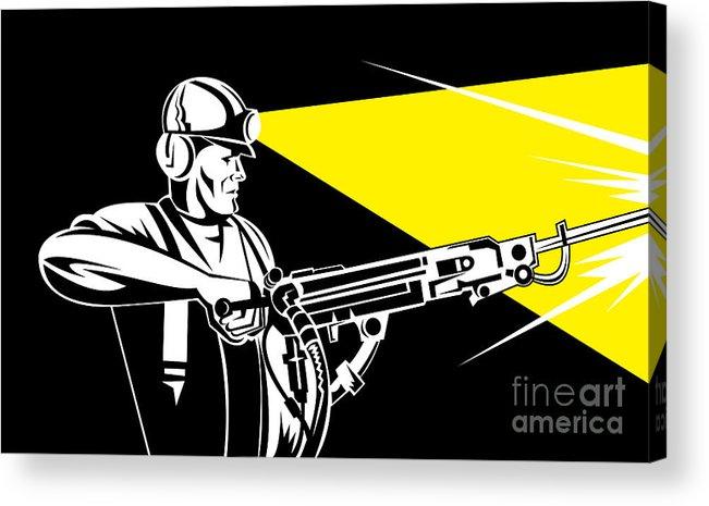 Illustration Acrylic Print featuring the digital art Miner With Jack Leg Drill by Aloysius Patrimonio