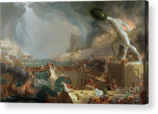 Destroy; Attack; Bloodshed; Soldier; Ruin; Ruins; Shield; Monument; Bridge; Classical Architecture; Galleon; Barbarian; Barbarians; Possibly Fall Of Rome; Hudson River School; Statue Acrylic Print featuring the painting The Course Of Empire - Destruction by Thomas Cole