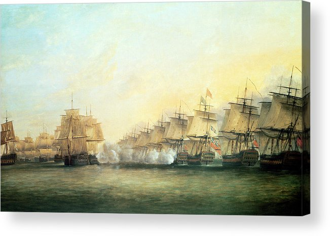 The Acrylic Print featuring the painting The Fourth Action Off Trincomalee Between The English And The French by Dominic Serres