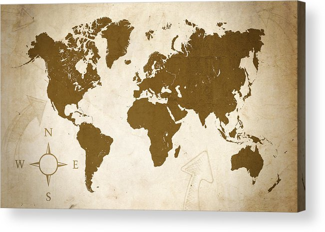 Map Acrylic Print featuring the digital art World Grunge by Ricky Barnard