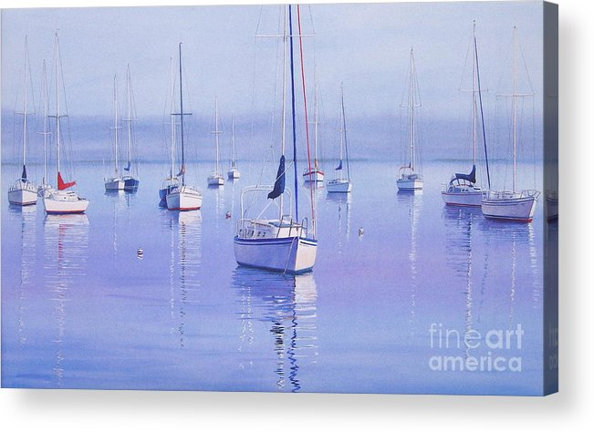 Sailboats Acrylic Print featuring the painting Morning Reflections by Karol Wyckoff