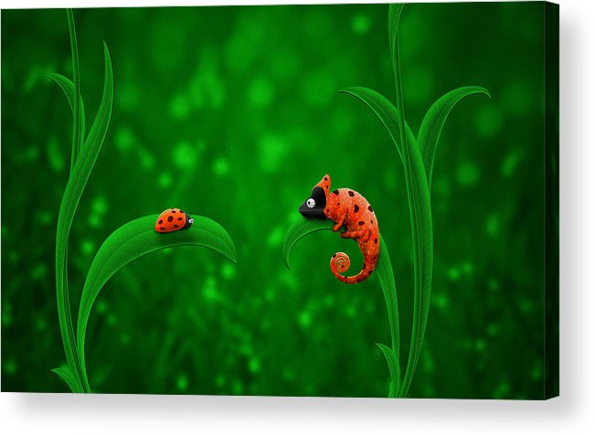 Abstract Acrylic Print featuring the drawing Beetle Chameleon by Gianfranco Weiss