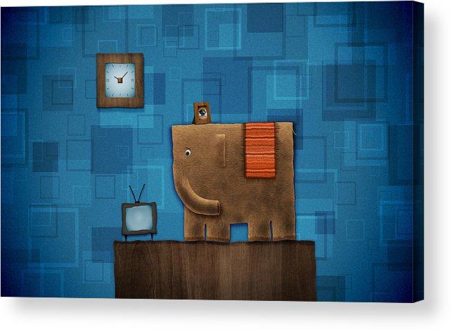 Abstract Acrylic Print featuring the drawing Elephant On The Wall by Gianfranco Weiss