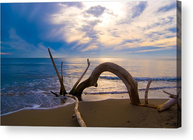 Driftwood Sea Mediterranean Sunset Sky Cloud Water Calm Serenity Acrylic Print featuring the photograph The Wooden Arch by Marco Busoni