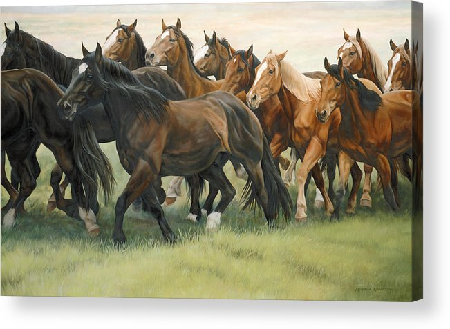Michelle Grant Acrylic Print featuring the painting Bottleneck by JQ Licensing