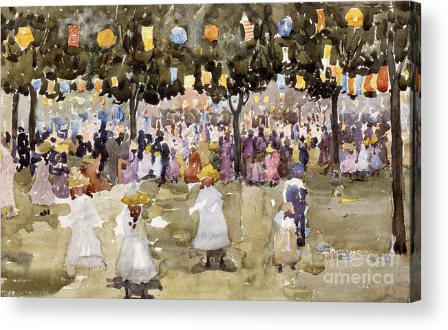 Central Park; Park; New York; Manhattan; Outdoors; Celebration; Summer; Summertime; Seasons; Independence Day; 4th July; Children; Lanterns; Decorations; Festive; Crowd; Crowds; Sketch; Atmospheric Acrylic Print featuring the painting Central Park New York City July Fourth by Maurice Prendergast