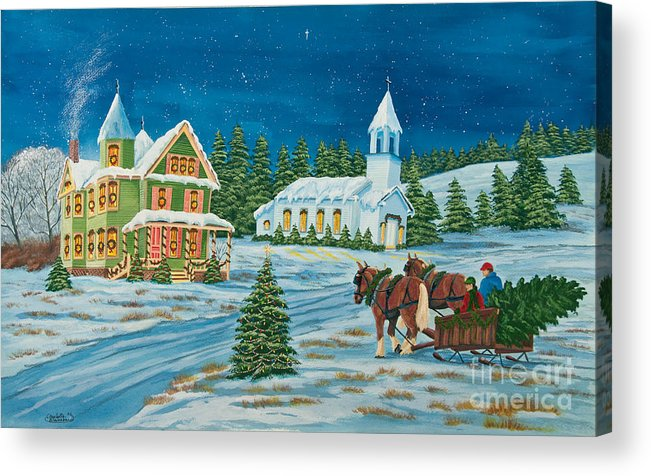 Winter Scene Paintings Acrylic Print featuring the painting Country Christmas by Charlotte Blanchard
