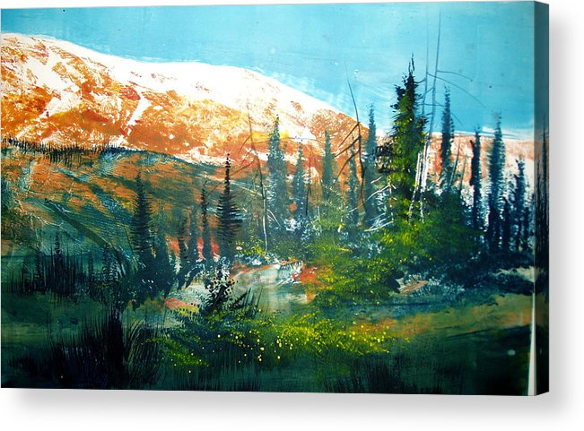 Landscape Acrylic Print featuring the mixed media Mountain Light by Robert Carver