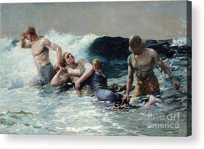 Undertow Acrylic Print featuring the painting Undertow by Winslow Homer