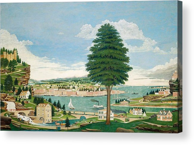 Harbor Acrylic Print featuring the painting Composite Harbor Scene With Castle by Jurgen Frederick Huge