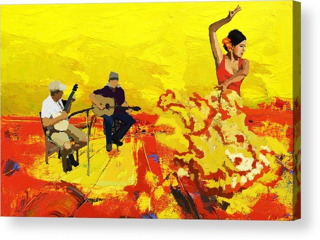 Jazz Acrylic Print featuring the painting Flamenco Dancer 018 by Catf