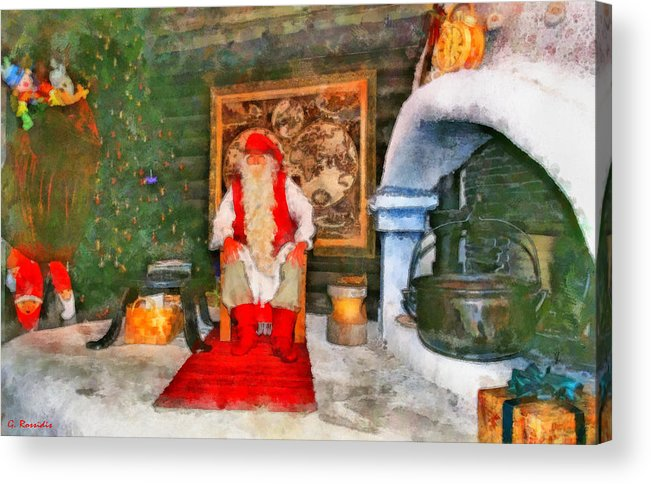 Rossidis Acrylic Print featuring the painting Santa Claus by George Rossidis