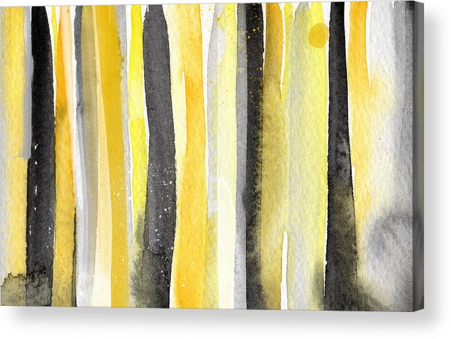 Abstract Yellow And Grey Painting Acrylic Print featuring the painting Sun And Shadows- Abstract Painting by Linda Woods