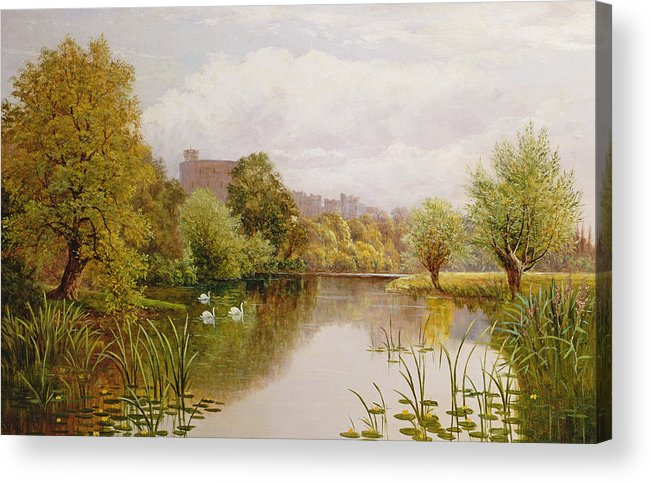 Swan Acrylic Print featuring the painting View Of Windsor From The Thames by John Atkinson