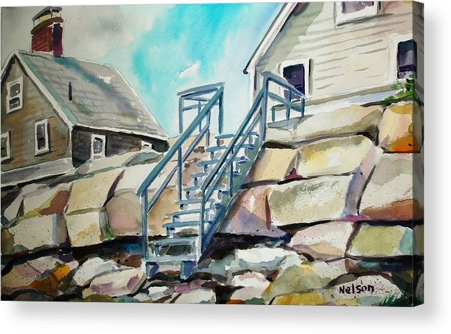 Wells Beach Acrylic Print featuring the painting Wells Beach Beach Stairs by Scott Nelson