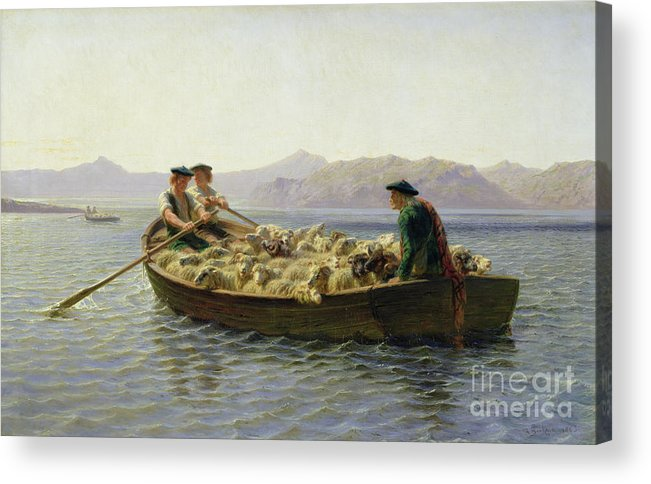 Rowing-boat Acrylic Print featuring the painting Rowing Boat by Rosa Bonheur