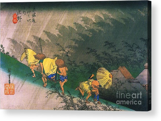 Pd Acrylic Print featuring the painting Travellers Surprised By Rain by Pg Reproductions