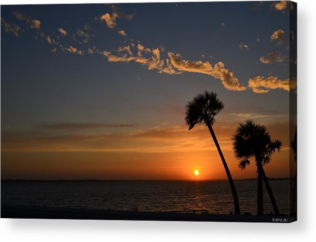 20120502 Acrylic Print featuring the photograph 0502 Palms With Sunrise Colors On Santa Rosa Sound by Jeff at JSJ Photography