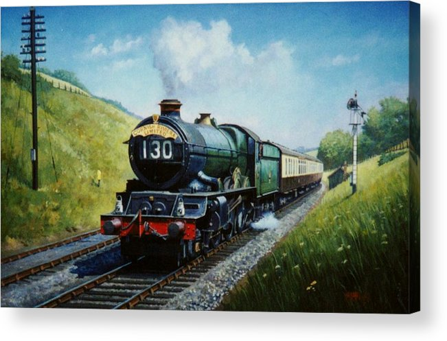 steam Traincommission A Painting Acrylic Print featuring the painting Cornish Riviera To Paddington. by Mike Jeffries