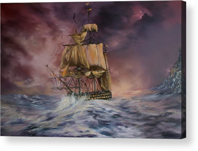 H.m.s Victory Acrylic Print featuring the painting H.m.s Victory by Jean Walker