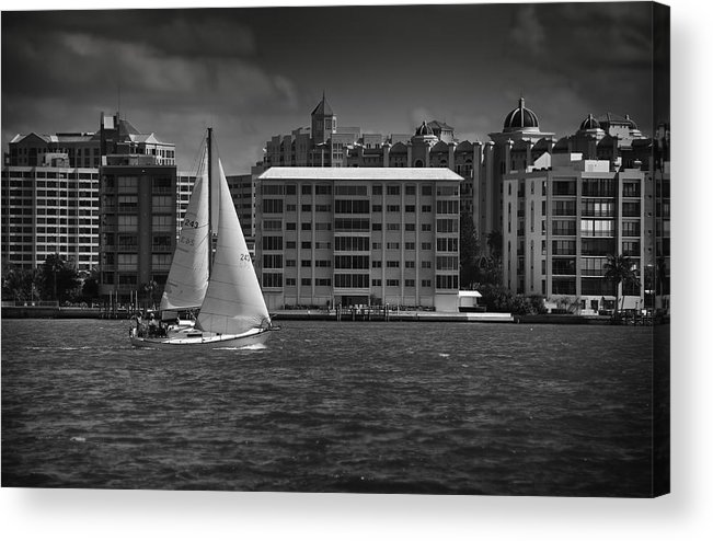 B&w Acrylic Print featuring the photograph Sailing Away by Mario Celzner