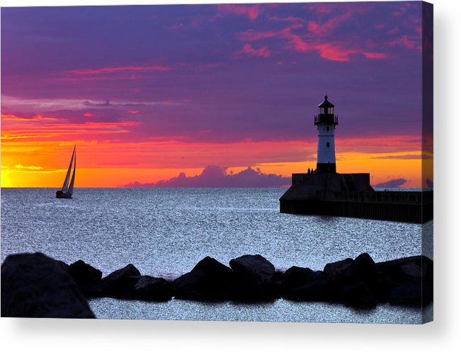 Sunrise lake Superior Sailing canal Park Lighthouse Duluth north Shore canal Park Lighthouse sail Boat Dawn Morning Magic Wow! Acrylic Print featuring the photograph Sunrise Sailing by Mary Amerman