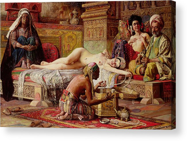 Nude Acrylic Print featuring the painting The Favorite Of The Harem by Gyula Tornai