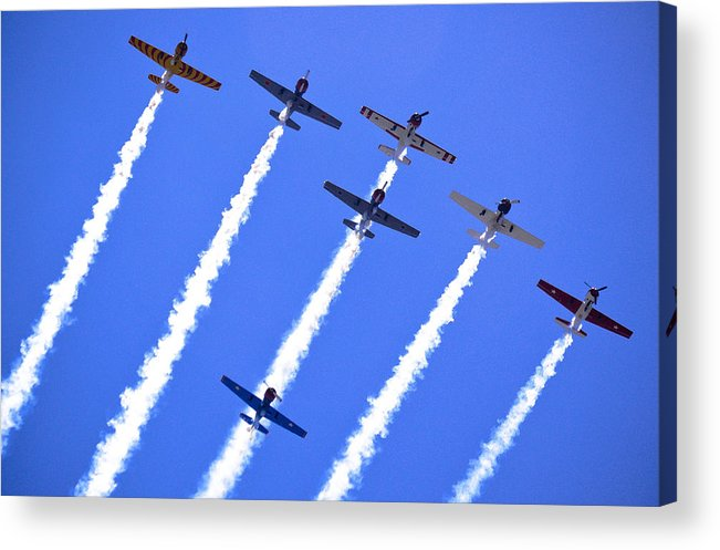 Flight Formation Acrylic Print featuring the photograph Yak 52 Formation by Phil 'motography' Clark