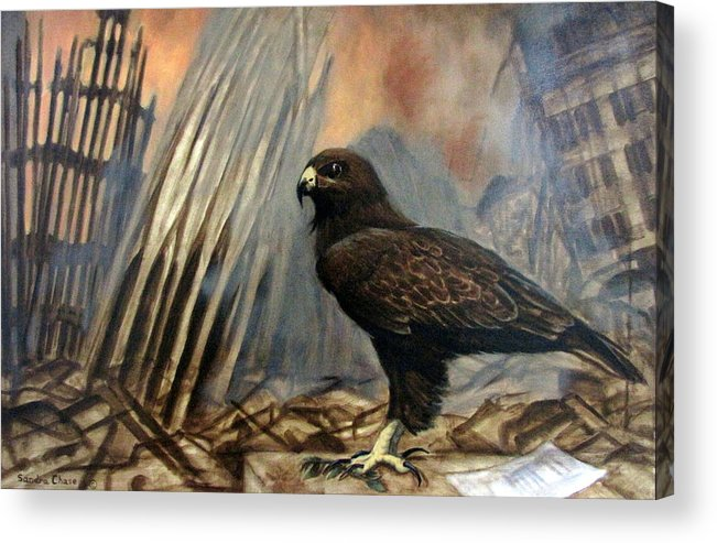 War Acrylic Print featuring the painting Either Peace Or War by Sandra Chase