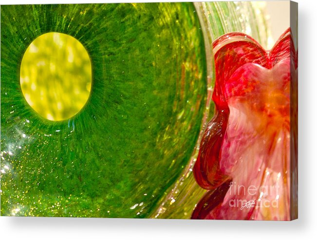 Art Glass Acrylic Print featuring the photograph Green And Red by Artist and Photographer Laura Wrede