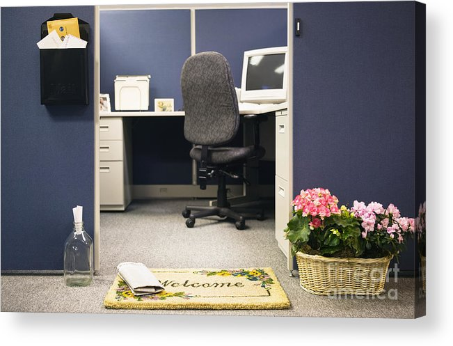 Blue Acrylic Print featuring the photograph Office Cubicle by Andersen Ross