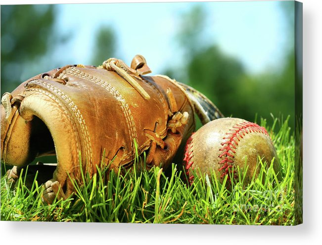 Ball Acrylic Print featuring the photograph Old Glove And Baseball by Sandra Cunningham