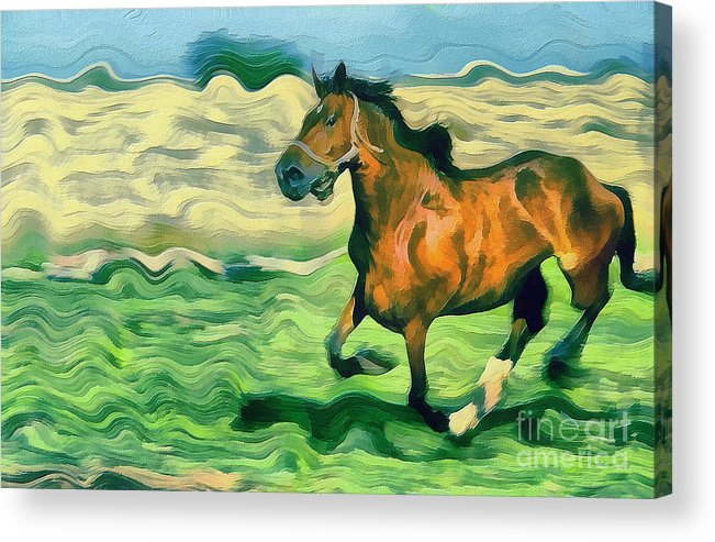 Odon Acrylic Print featuring the painting The Running Horse by Odon Czintos