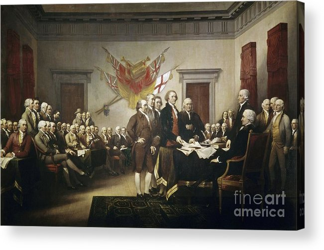 Signing Acrylic Print featuring the painting Signing The Declaration Of Independence by John Trumbull