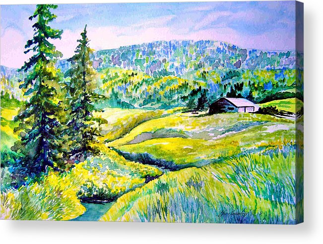 Arkansas Creek And Cottage Acrylic Print featuring the painting Creek To The Cabin by Joanne Smoley