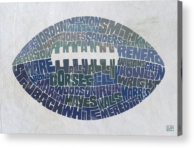Dallas Acrylic Print featuring the painting Dallas Cowboy Football by Mitch Frey