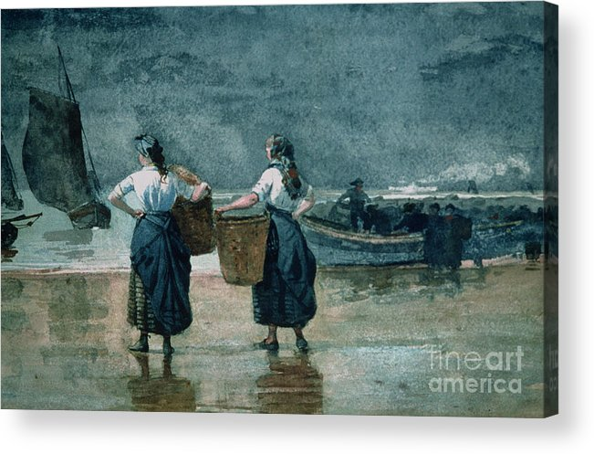 Fisher Girls By The Sea (w/c On Paper)probably Cullercoats Acrylic Print featuring the painting Fisher Girls By The Sea by Winslow Homer